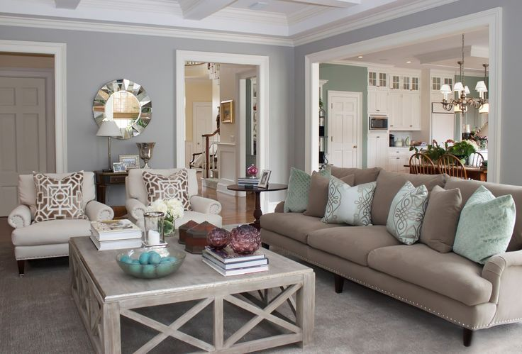 Living room - relaxing colours  tones (beige, cream, sage - Brown Couch Living Room