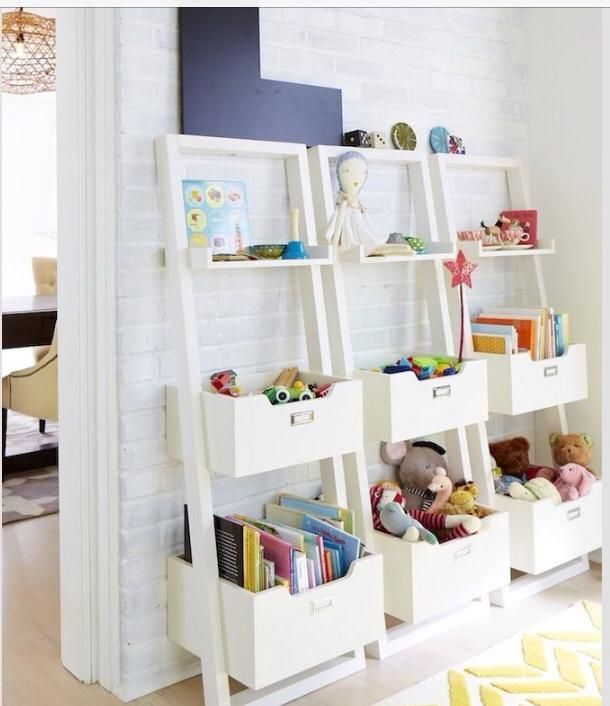 Toy Storage Ladder Bins Kids Playroom Storage Playroom Storage Kid Room Decor
