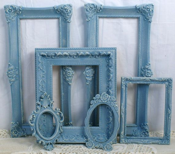 Shabby Chic French Blue Chalk Paint Frames by DanielsVintage, $64.00