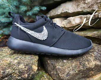 Black Nike Roshe Run with Swarovski Crystals Custom shoes sparkle nike  swarovski crystal nike glitter shoes glitter kicks adadbec5f6