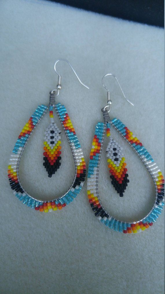 Native American Teardrop Brick Sch Beaded Earrings