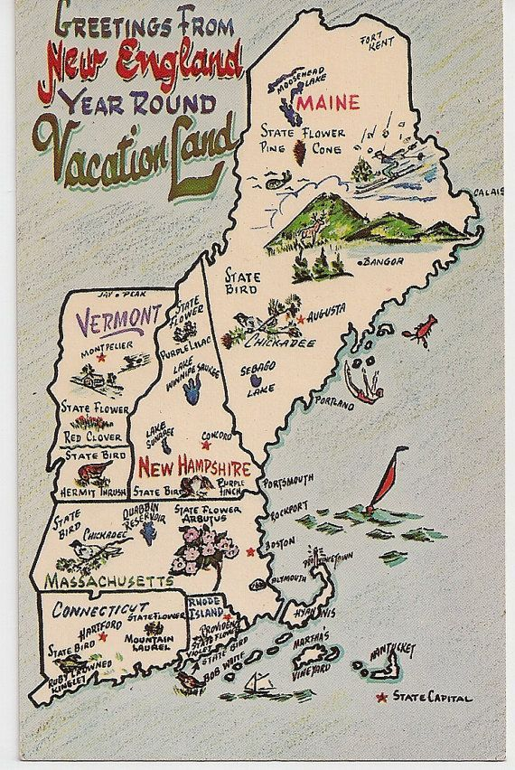 Greetings from New England Vacation Land Vintage Map postcard Maine