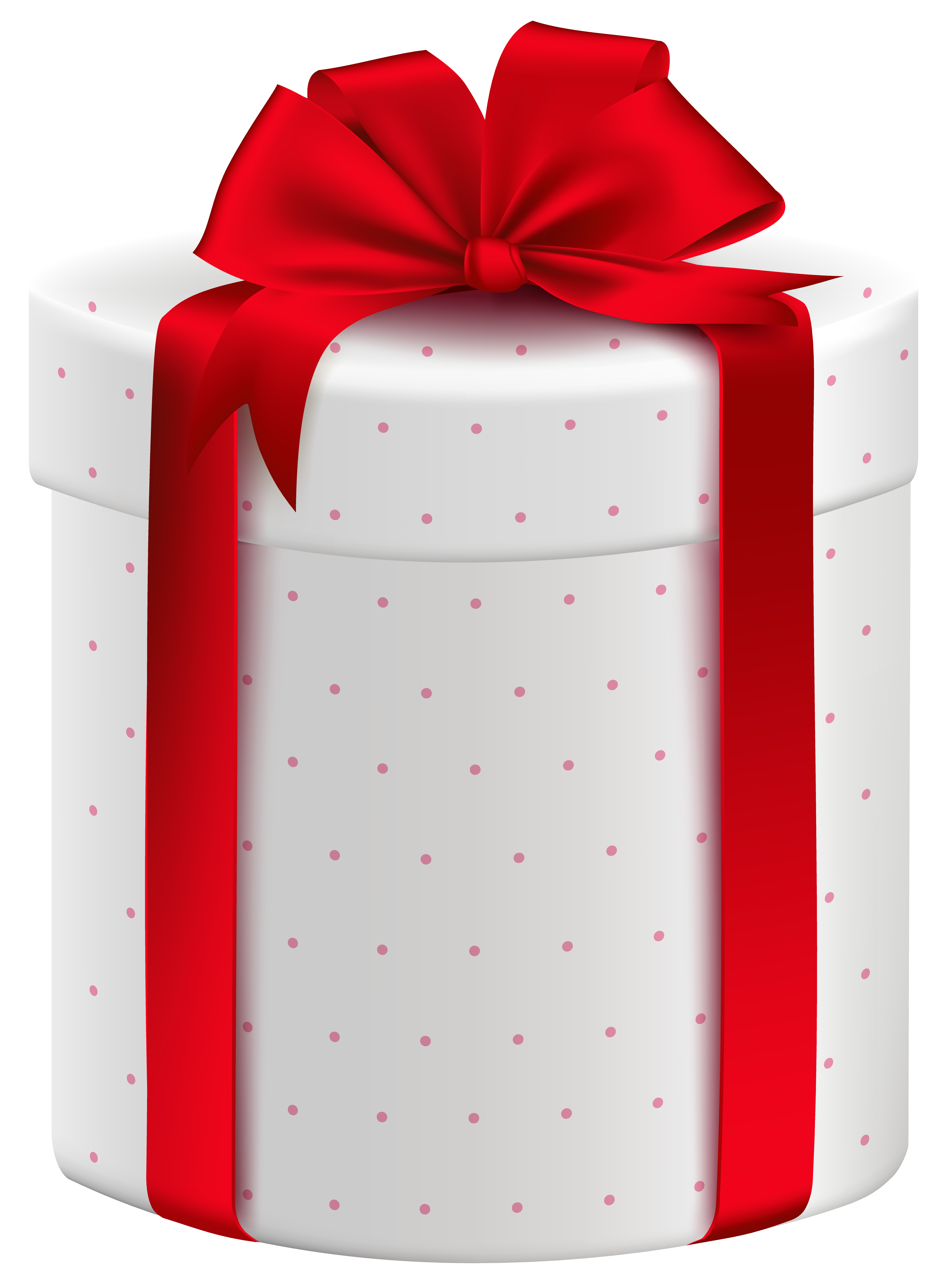 White Gift Box with Red Bow PNG Clipart Image Feliz