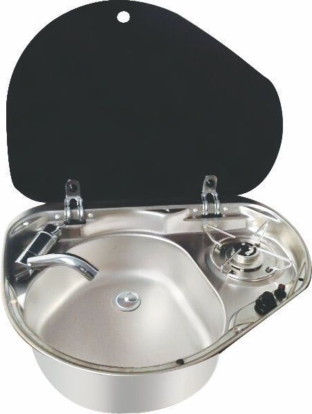 One Burner With Sink Combo Glass Lid Makes Useful Extra Workspace