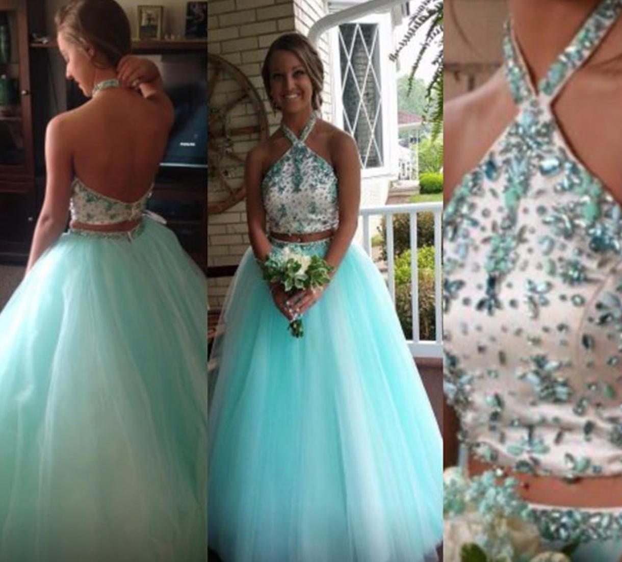 Float in to your next big event in this princess ball gown with soft tulle skirt and jeweled halter to #promagain #consignment #resale #formaldress