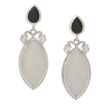 Himalayan Gems Sterling Silver White Moonstone, Black Spinel & White Topaz Earrings