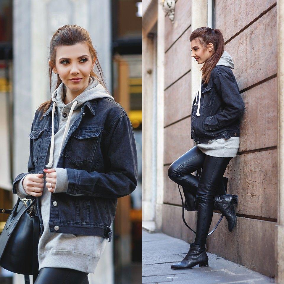 Larisa Costea Romwe Denim Jacket Black Denim Womens Black Jacket Black Denim Black Denim Jacket Outfit