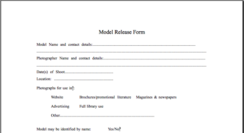 Model Release Forms For Photographers In Australia  Forum  Model