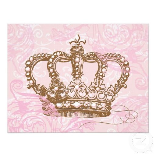 pink princess crown invitations