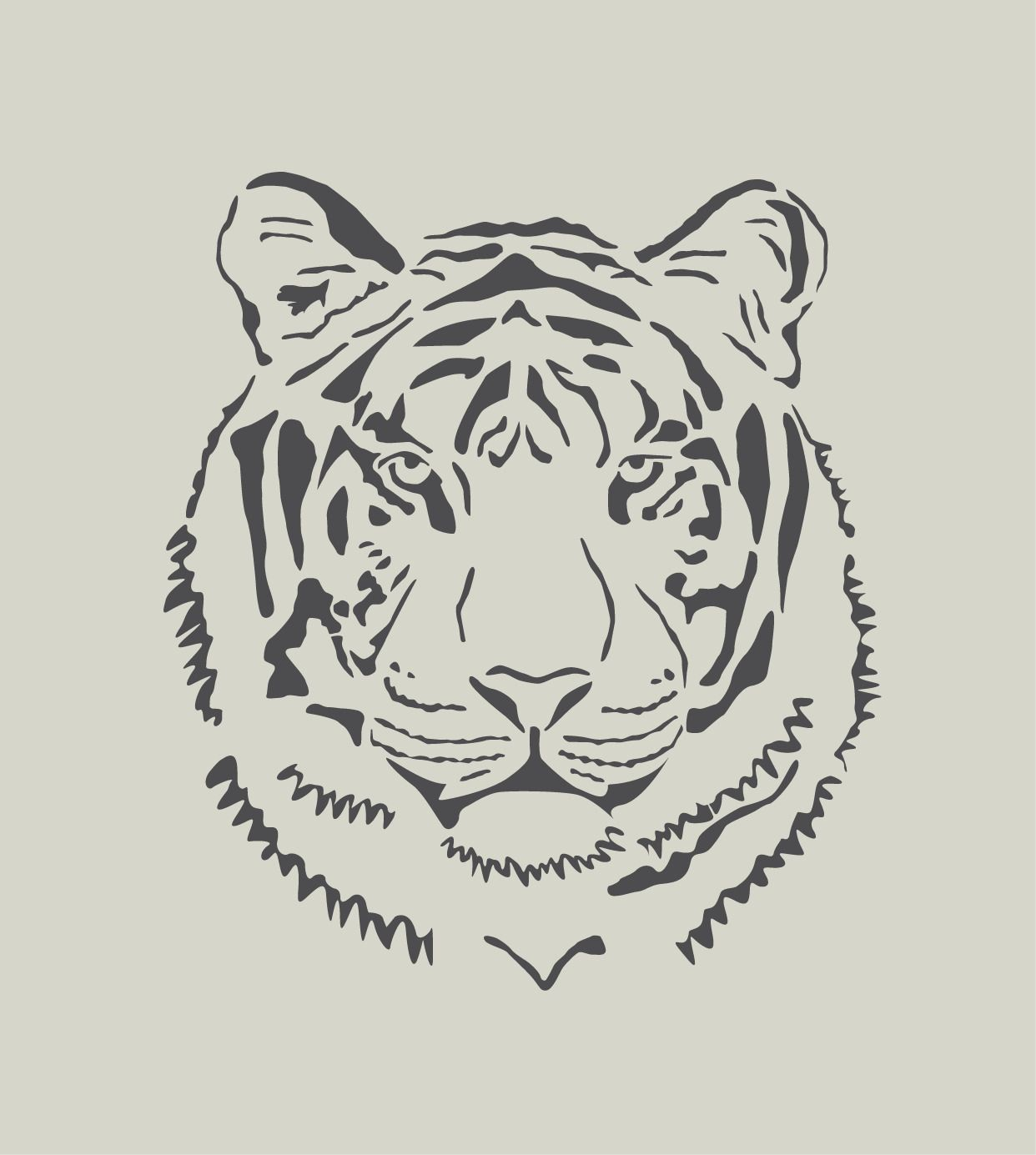 Tigre t te de tigre pochoir en vinyle adh sif ref 134 2 d coration d 39 int rieur par - Photo de tigre a imprimer ...