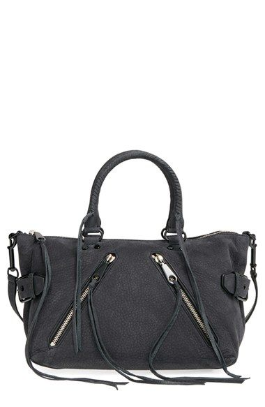 Free shipping and returns on Rebecca Minkoff 'Moto' Satchel at Nordstrom.com. Signature stud hardware, a pair of asymmetrical zip pockets and adjustable buckle detailing at the sides lend moto-inspired edge to this relaxed distressed-leather satchel from Rebecca Minkoff. Dual rolled top handles and decorative lacing perfect the slouchy silhouette.
