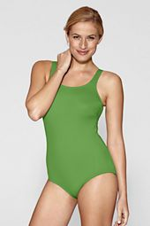 Women's Tugless Tank Soft Cup One Piece Swimsuit with Tummy Control