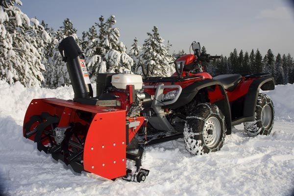 The Snow Hogg Ii Atv Attachable Snowblower By May S Honda Atv Plow Atv Car Snow Vehicles