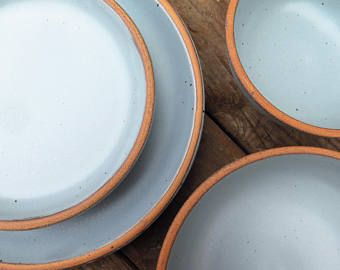 Custom Noe Dinnerware Set In Bay Fog // Pale Blue Glaze Grey  Made To