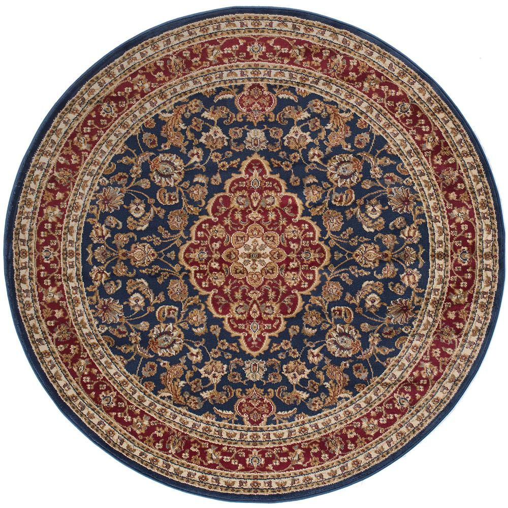 Tayse Rugs Sensation Navy Blue 8 Ft Round Traditional Area Rug