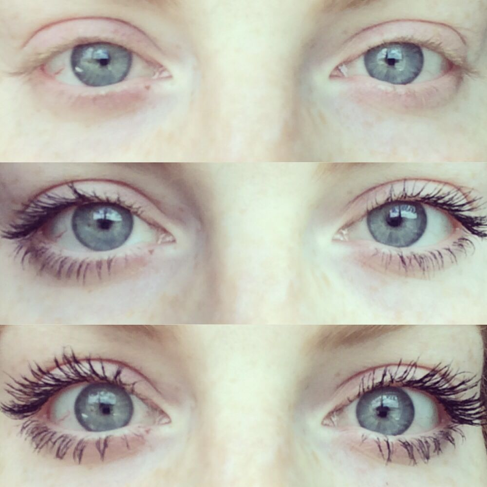 This mascara is amazing! Top photo is no mascara, middle is regular mascara and bottom photo is Younique 3D Fiber Mascara. Makes it look like you are wearing fake lashes without the hassle of them! Order online at www.youniqueproducts.com/kaylanicole