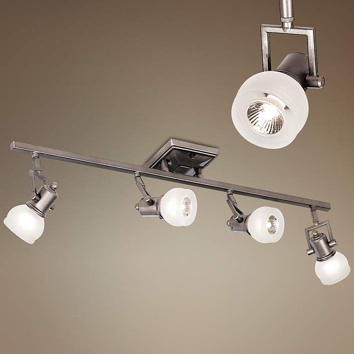 Pro track chace pewter 4 light track fixture 18466 lamps plus this four light fixture offers adjustable stems and generous halogen light canopy is wide x deep includes four 50 watt halogen bulbs aloadofball Images