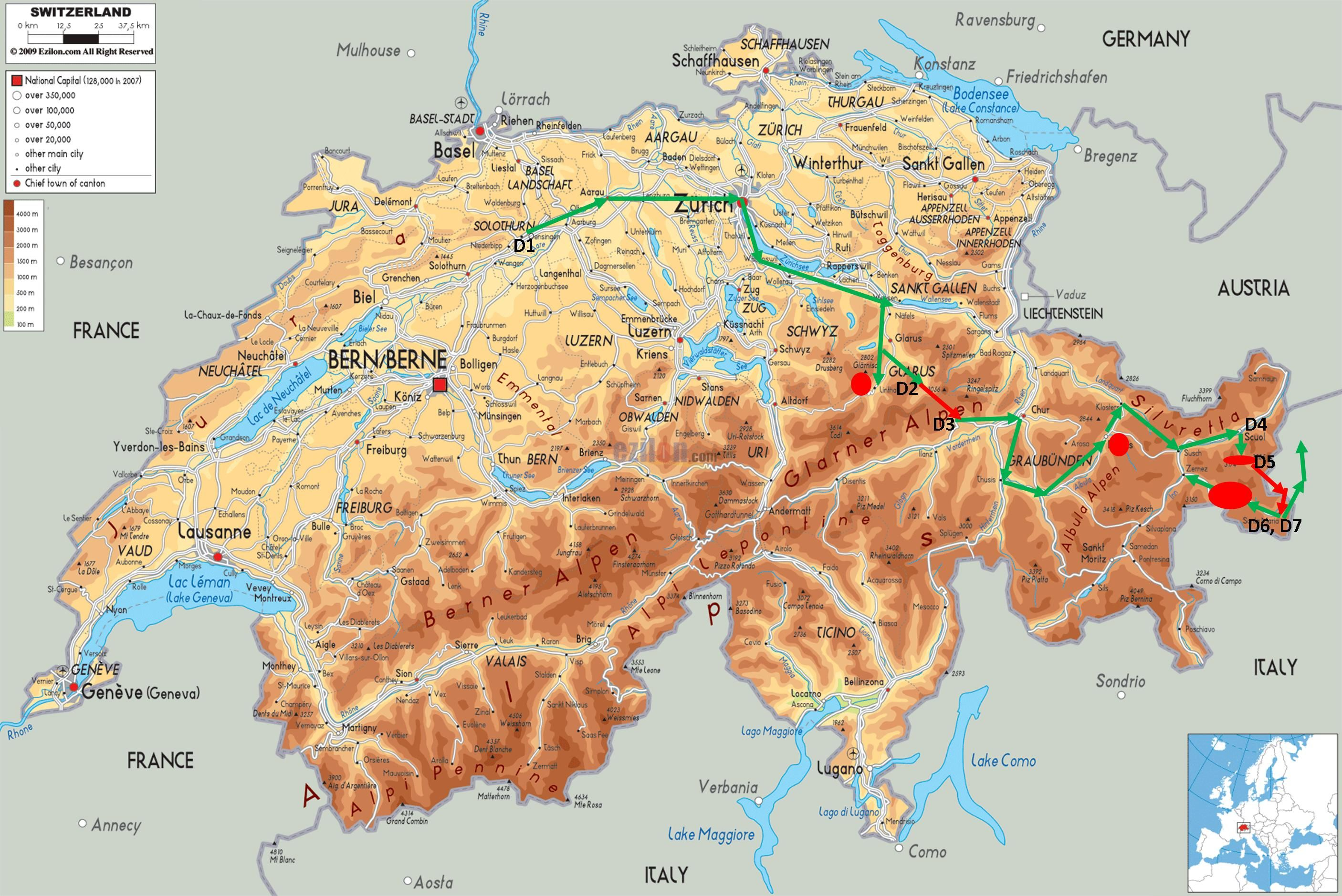 Physical Map Of South Carolina%0A switzerland map   Large detailed physical map of Switzerland with roads   cities and       Europe   Pinterest   Switzerland and City