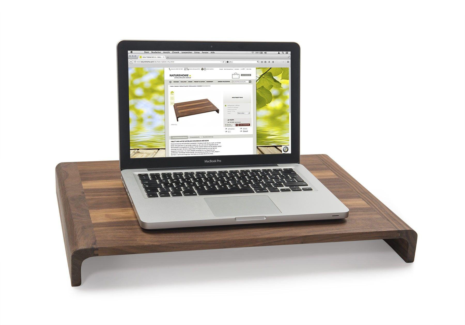 tablett und laptop unterlage in nuss oder buche naturehome walnut interior home. Black Bedroom Furniture Sets. Home Design Ideas