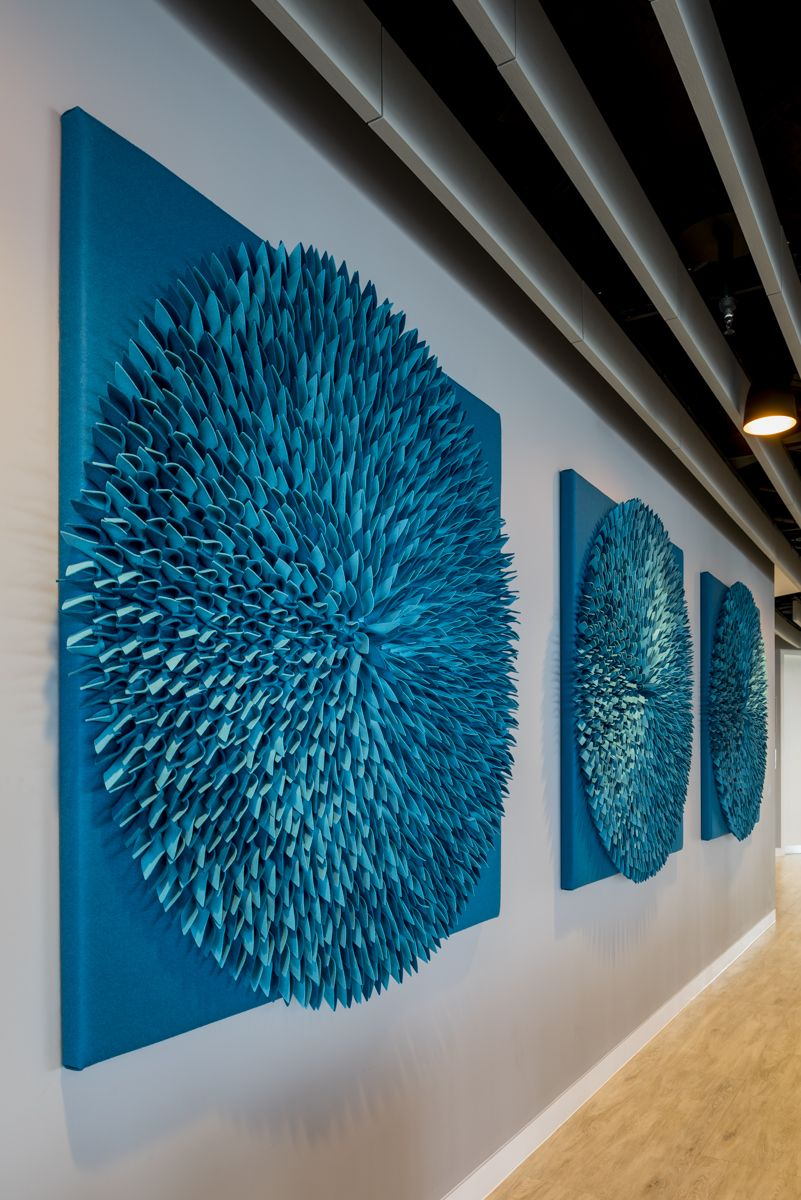 Round Tulip Design L Coworking Space In London Uk L Textile Acoustic Wall Coverings Handmade By Anne Kyy Acoustic Wall Acoustic Wall Panels Acoustic Panels Diy