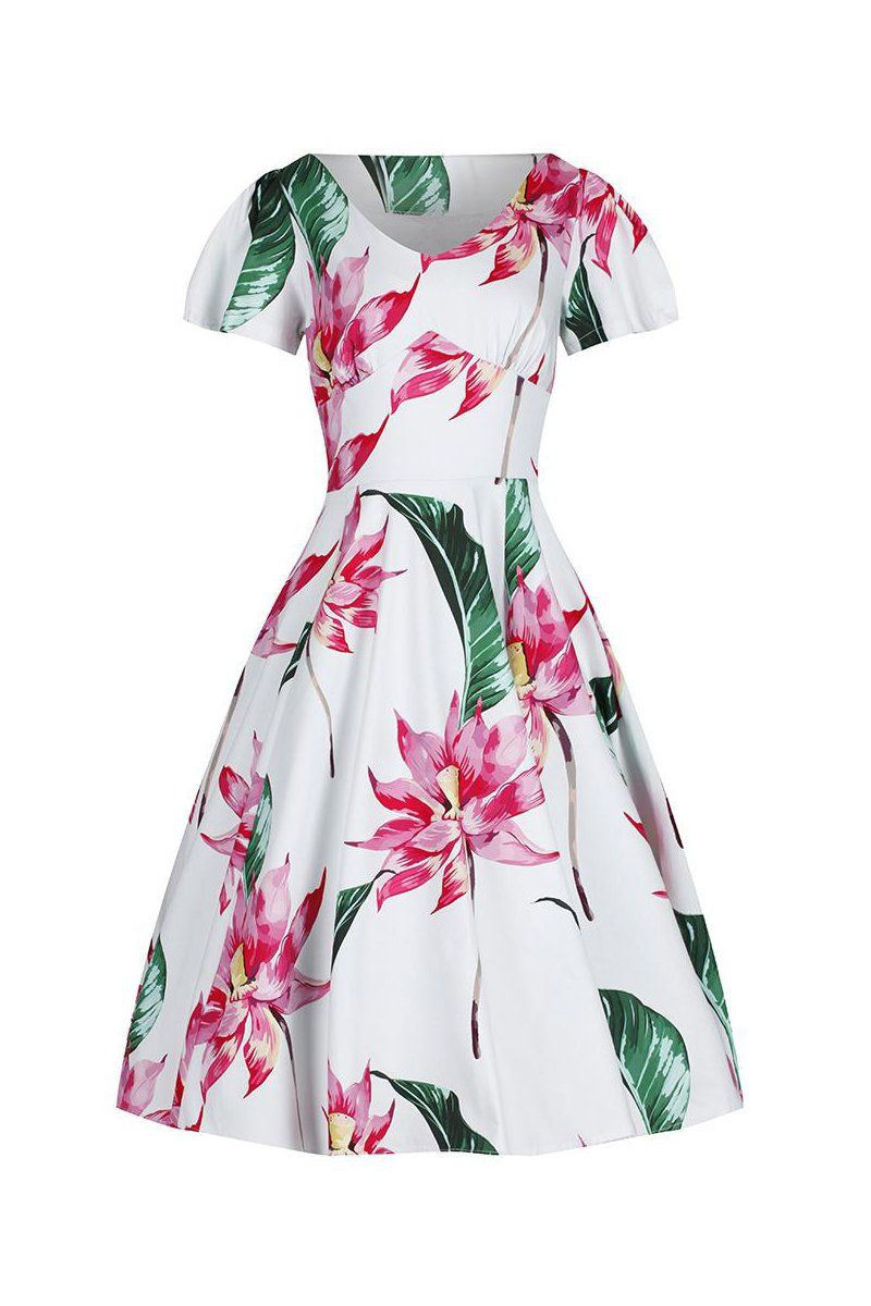 150b0997fda7 White and Pink Floral Cap Sleeve Rockabilly 50s Swing Dress in 2019 ...