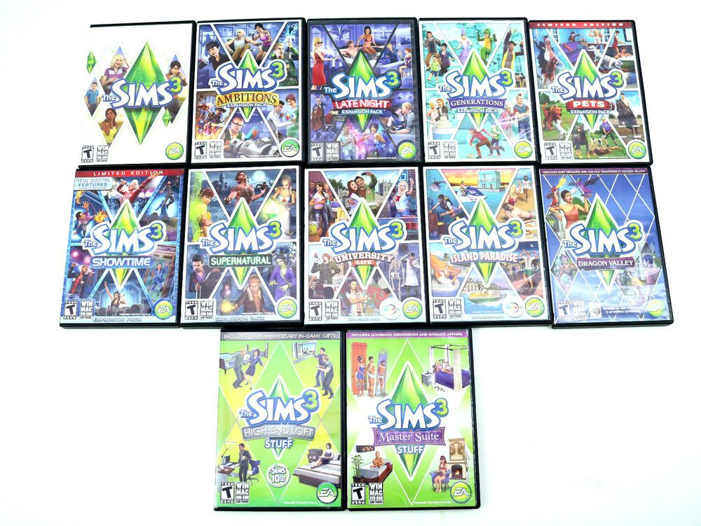 The Sims 3 Game PC MAC - Expansions and Stuff Packs Lot of