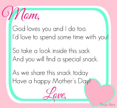 Free Mothers Day Snack Tag Printable Snacks Snack bags and
