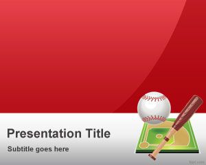 Red Baseball Powerpoint Template With Images Powerpoint