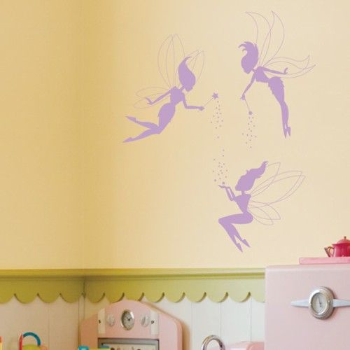 Make your kids' fantasies come true with these colorful kids vinyl wall decals. These fairy wall stickers come in sthree pieces and let you set the layout and create your own magical and imaginative scene.SALE PRICE: $24.95