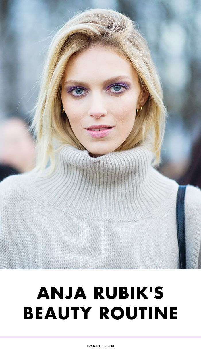 Anja Rubik shares, her favorite black liner, model-off-duty hair tips, favorite healthy smoothie recipe, and more beauty secrets.
