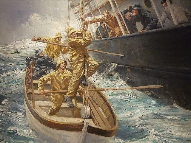 Photographed at the Ventura County Maritime Museum in Oxnard, California, just down the road from Ventura's beach area. The size of the museum's collection of ship models is second only to the U. S. Naval Academy at Annapolis, MD in the US. The Rescue by Anton Otto Fischer 1882-1962, by mharrsch