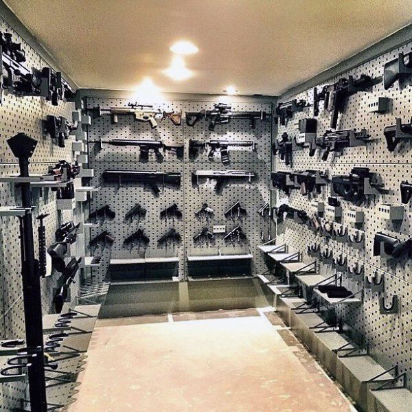 Vaulted gun room safe design awesome gun rooms for Built in gun safe room