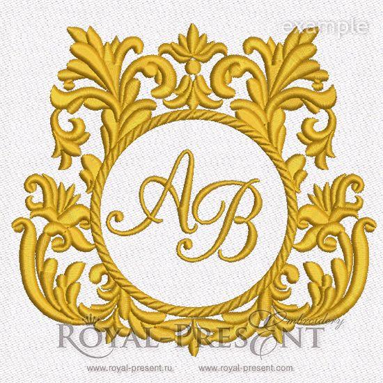 Machine Embroidery Design Baroque Monogram Blank