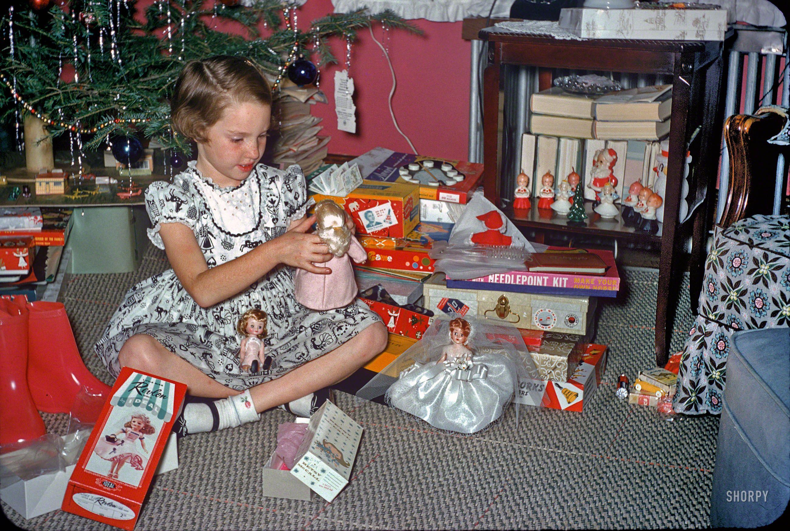 "Kodachrome 1957 ""Christmas 1957 "" Having seen the boy toys at"