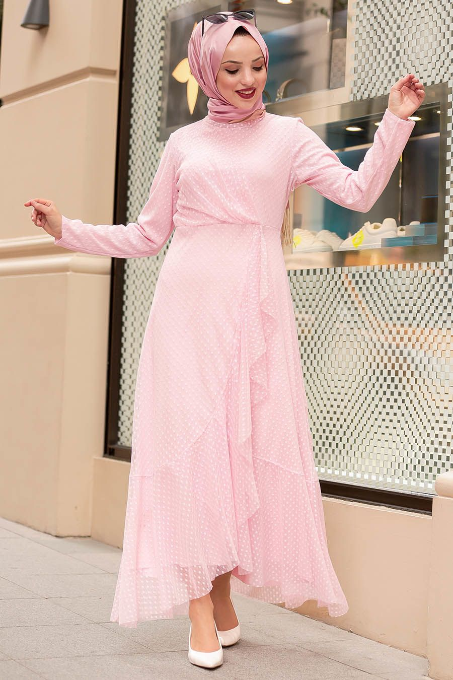 Nayla Collection Puantiyeli Pembe Tesettur Elbise 50141p Tesetturisland Com The Dress Giyim Ve Mankenler