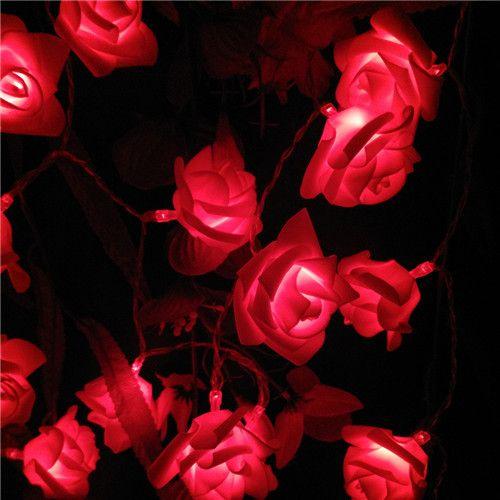Pin On Rose Fairy Lights Flower String Lights