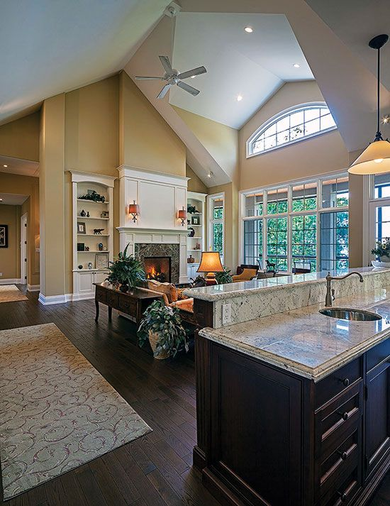 House plans with vaulted great rooms for Ranch floor plans with great room