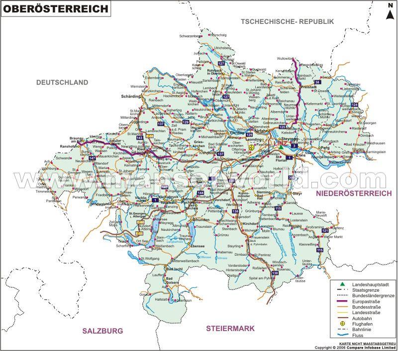 Oberosterreich Karte Karte Bundeslander Oberosterreich Tirol Karte