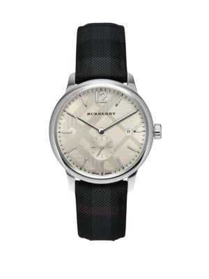 df97f9b1d8e8 BURBERRY Stainless Steel   Checkered Charcoal Leather-Strap Watch.  burberry