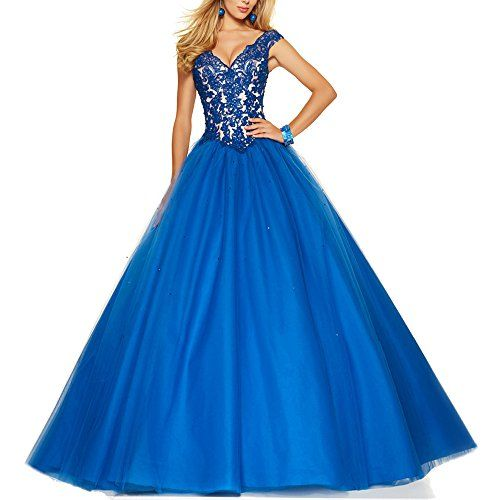 Nicefashion Womens V Back Straps Rhinestone A Line Military Ball Gown Prom Dresses Royal Blue US12 -- See this great product.