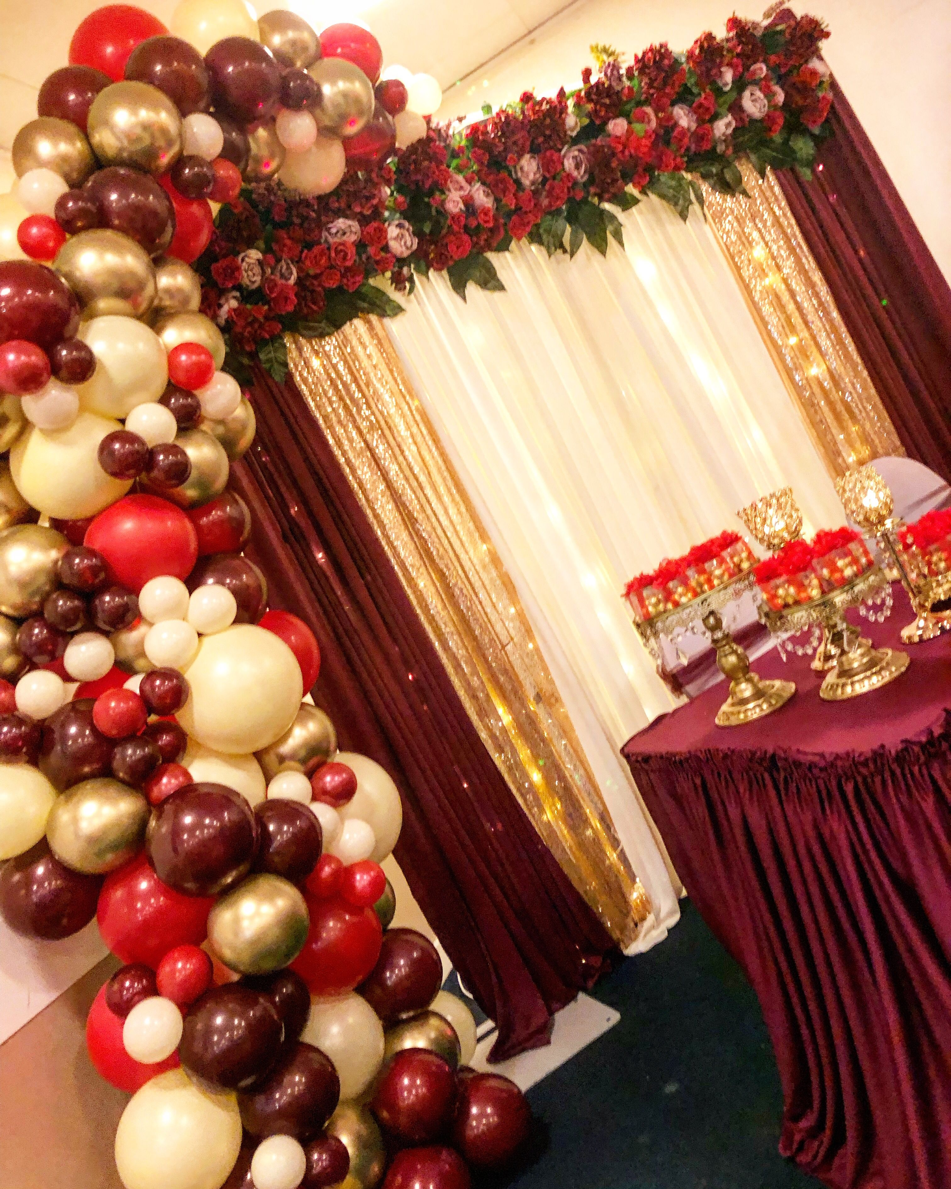 Gold Ivory And Burgundy Balloon Arch Perfect For Engagement