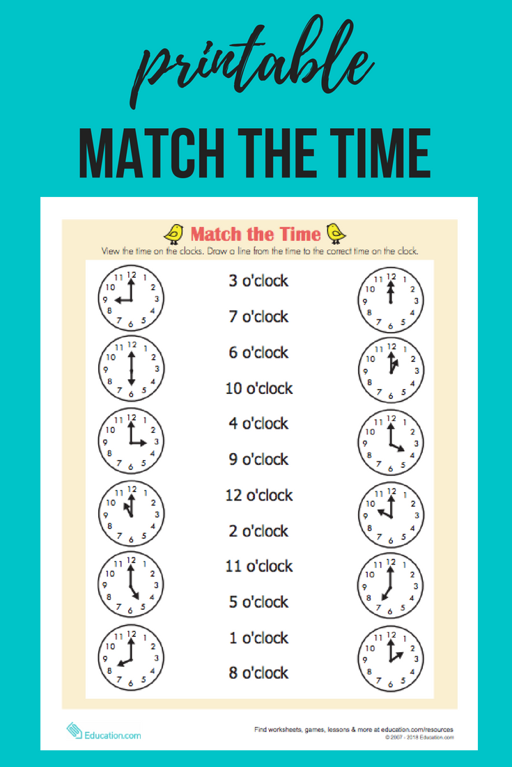 On The Hour Worksheet Education Com Time Worksheets Learn Math Online Math Methods