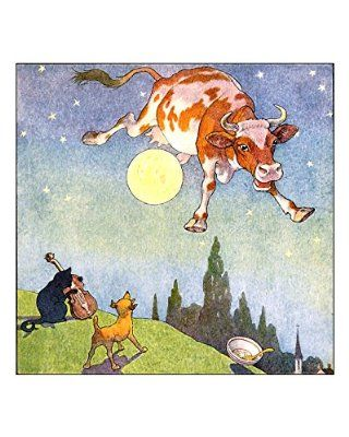 11x14 inch mother goose cow jumped over the moon nursery