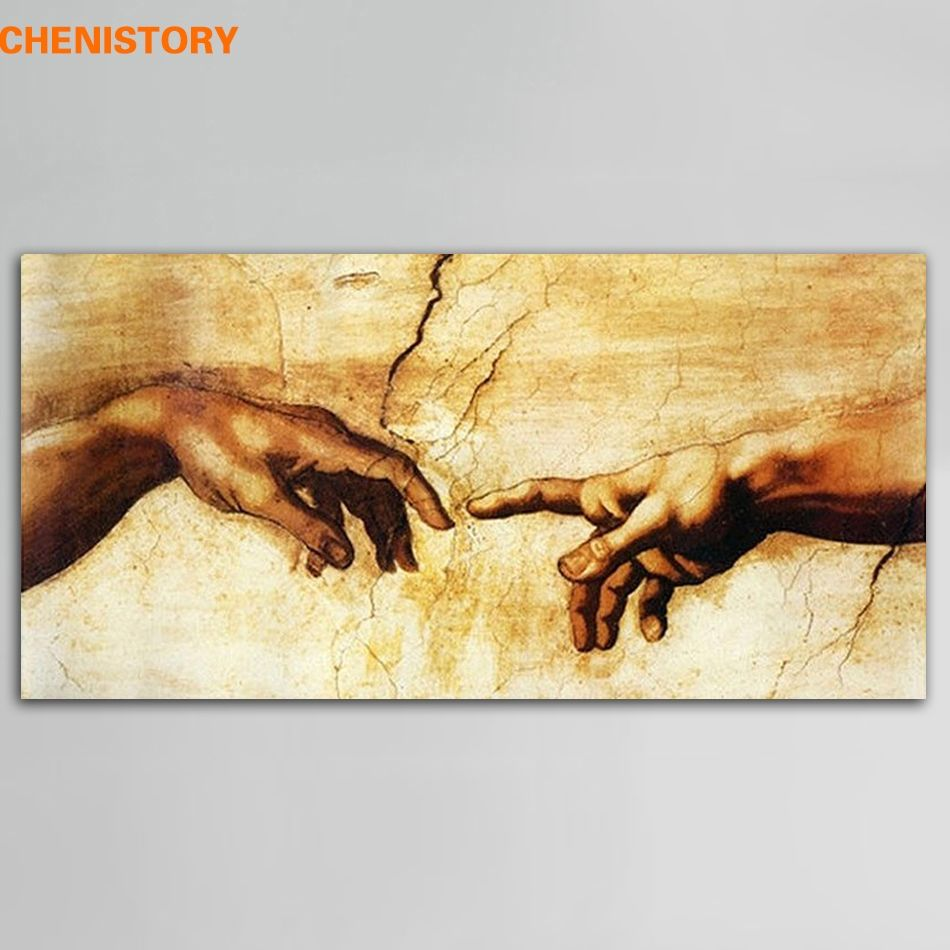 Unframed Cotton Creation Of Adam By Michelangelo Print Painting ...