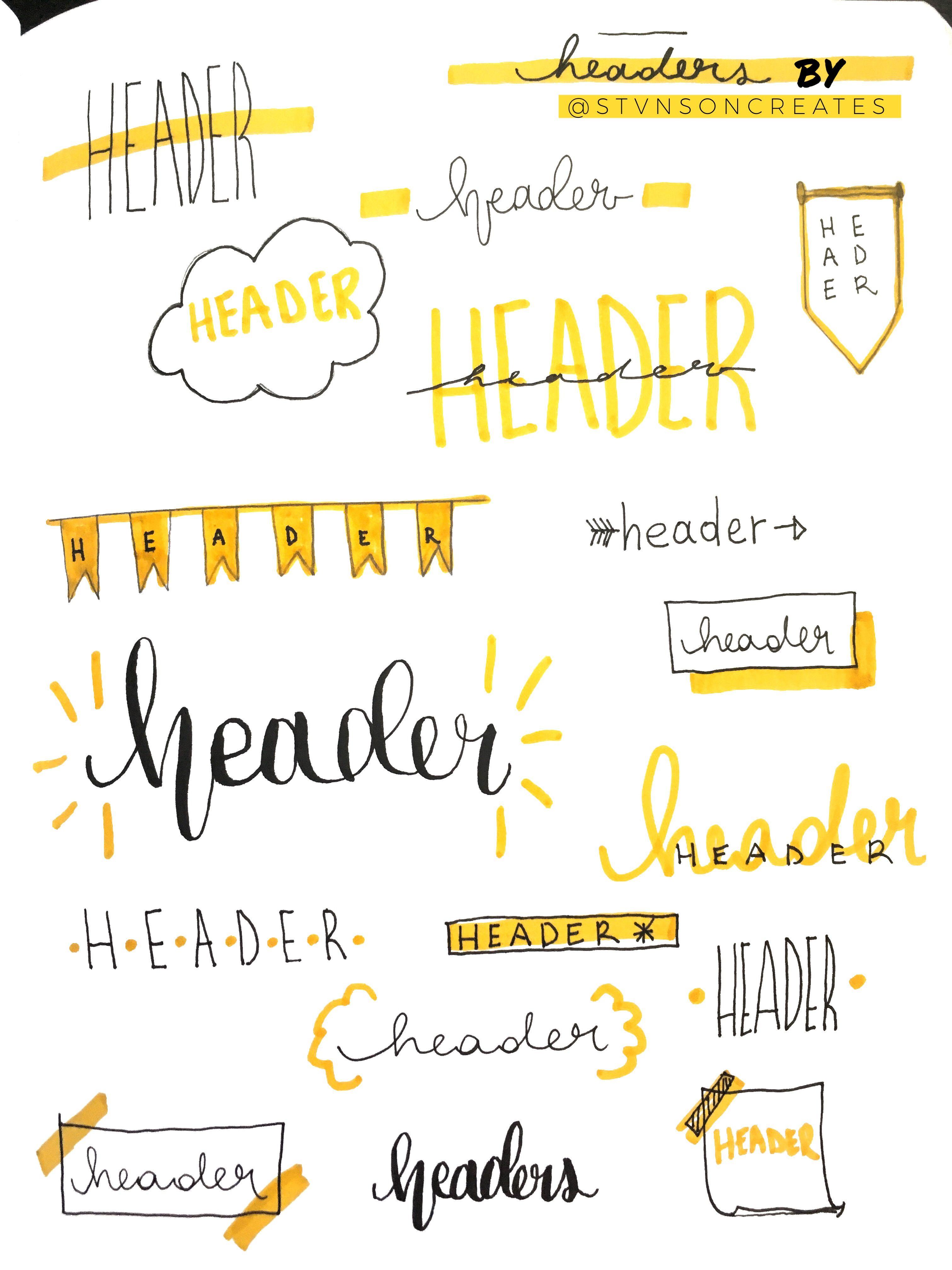 Yellow Headers #bulletjournal