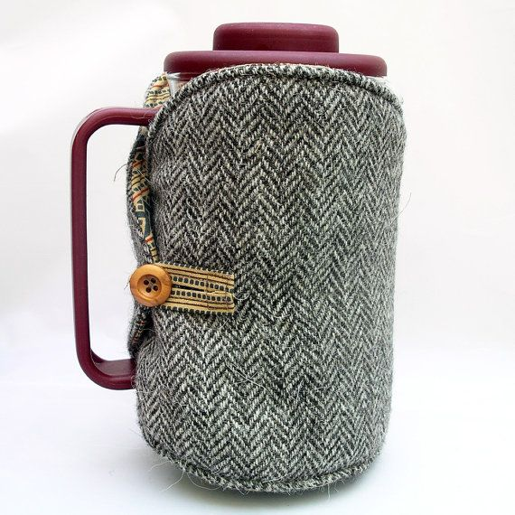 Reversible Cafetiere Coffee Pot Cosy In Eco Friendly British Tweed Wool And Cotton