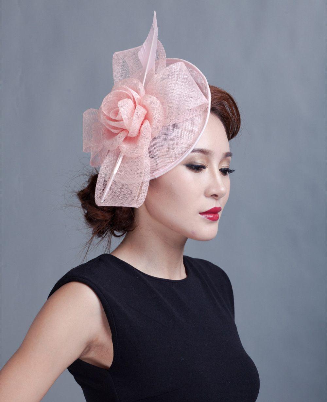 Fashion Feather Sinamay Fascinator Hats Women Hair Clip Wedding Party Headwear Tail Church Horse Race