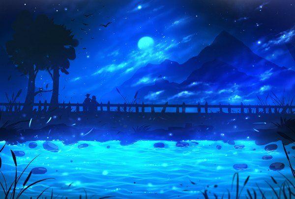 Anime Picture Original Ryky Sky Night Landscape Mountain 1557x1053 475292 En Night Landscape Anime Scenery Landscape