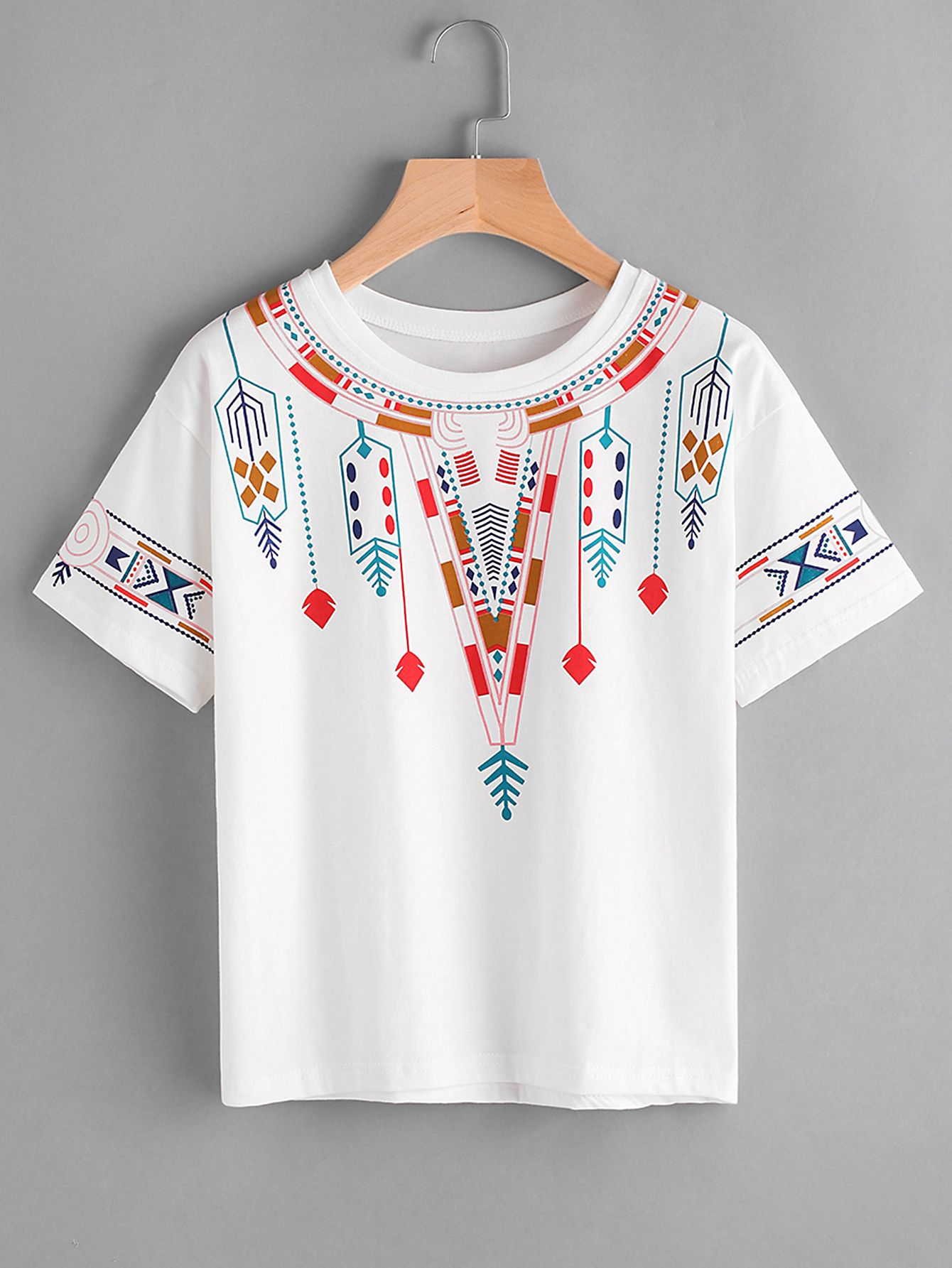 d7b1779187cd Shop Aztec Print Tee online. SheIn offers Aztec Print Tee & more to ...