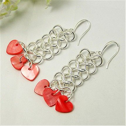 Fashion Earrings, With Shell Pendants, Iron Findings And Brass Earring Hooks, Red, 77x20mm